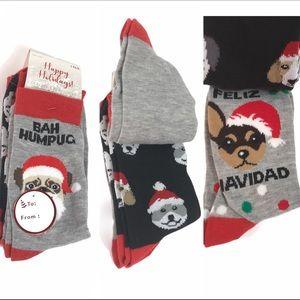 Happy Holidays Christmas a Dog Crew Socks 3 pairs
